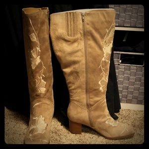 Wide Calf Embroidered Suede-Like Boots